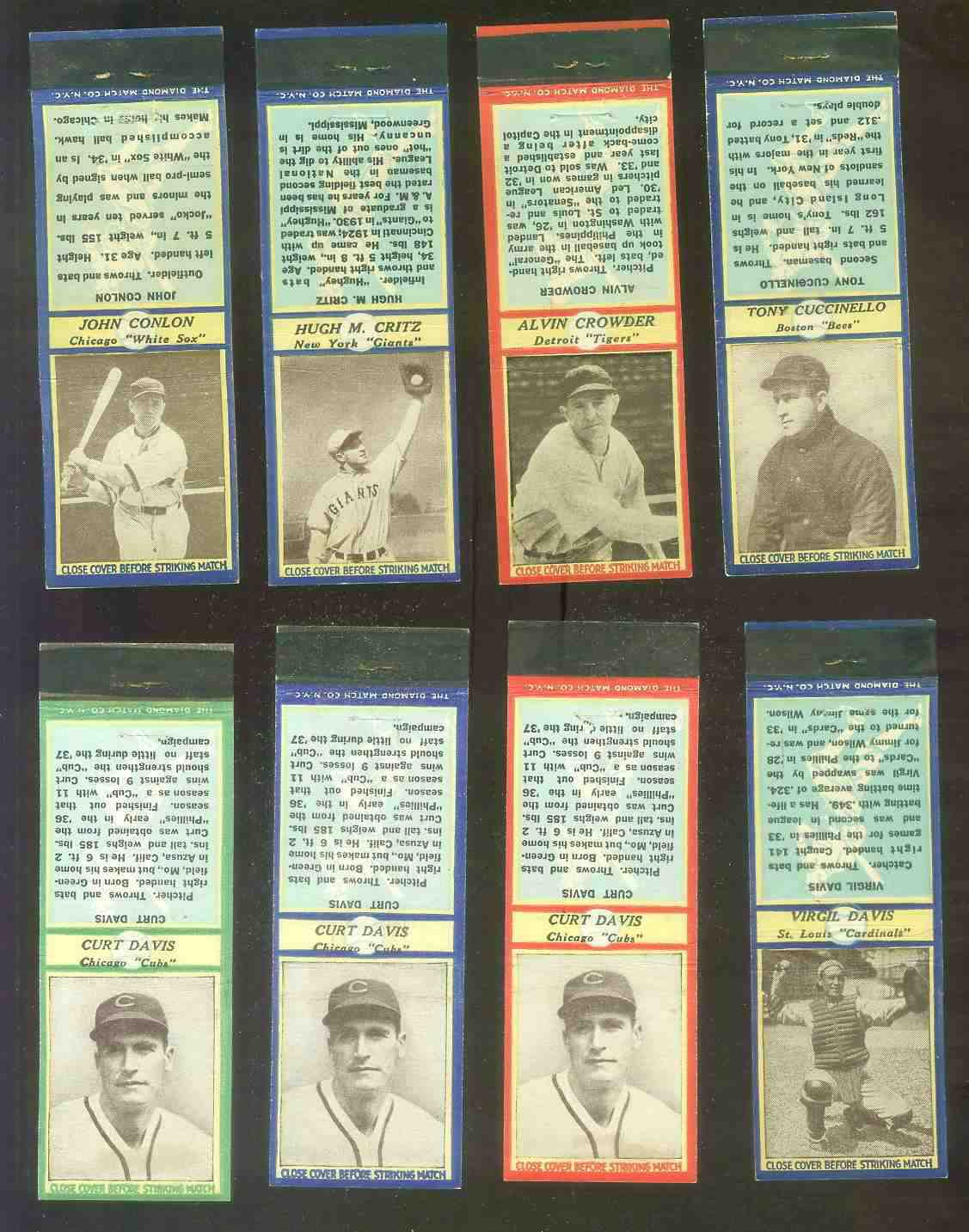 1935-36 Diamond Match Co. #.42B Curt Davis GREEN (Cubs) Baseball cards value
