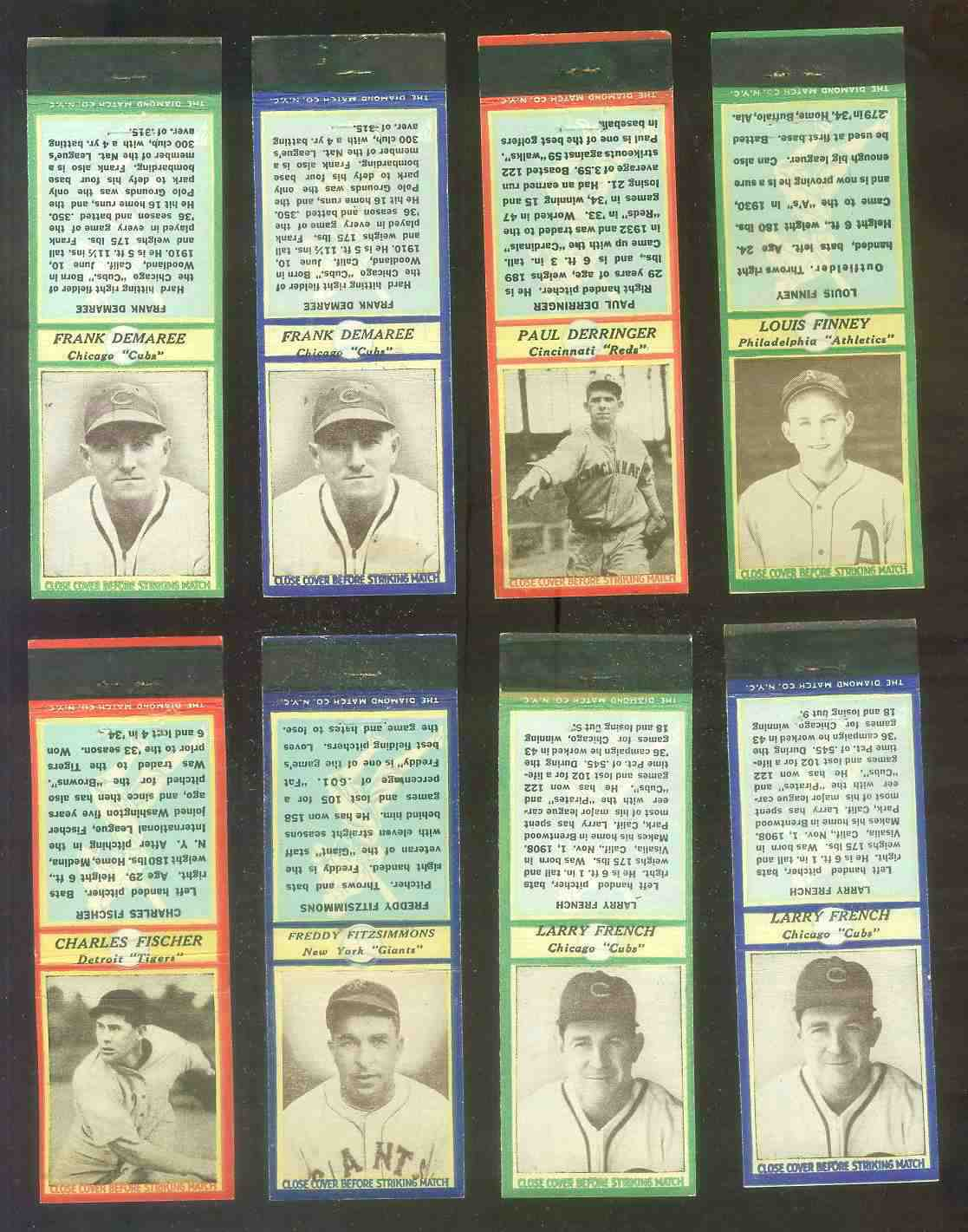 1935-36 Diamond Match Co. #.44B Frank DeMaree BLUE (Cubs) Baseball cards value