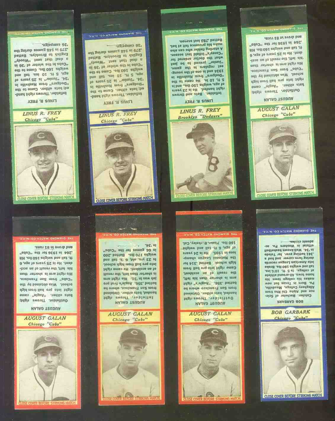 1935-36 Diamond Match Co. #.54 Linus Frey WAIST UP BLUE Baseball cards value