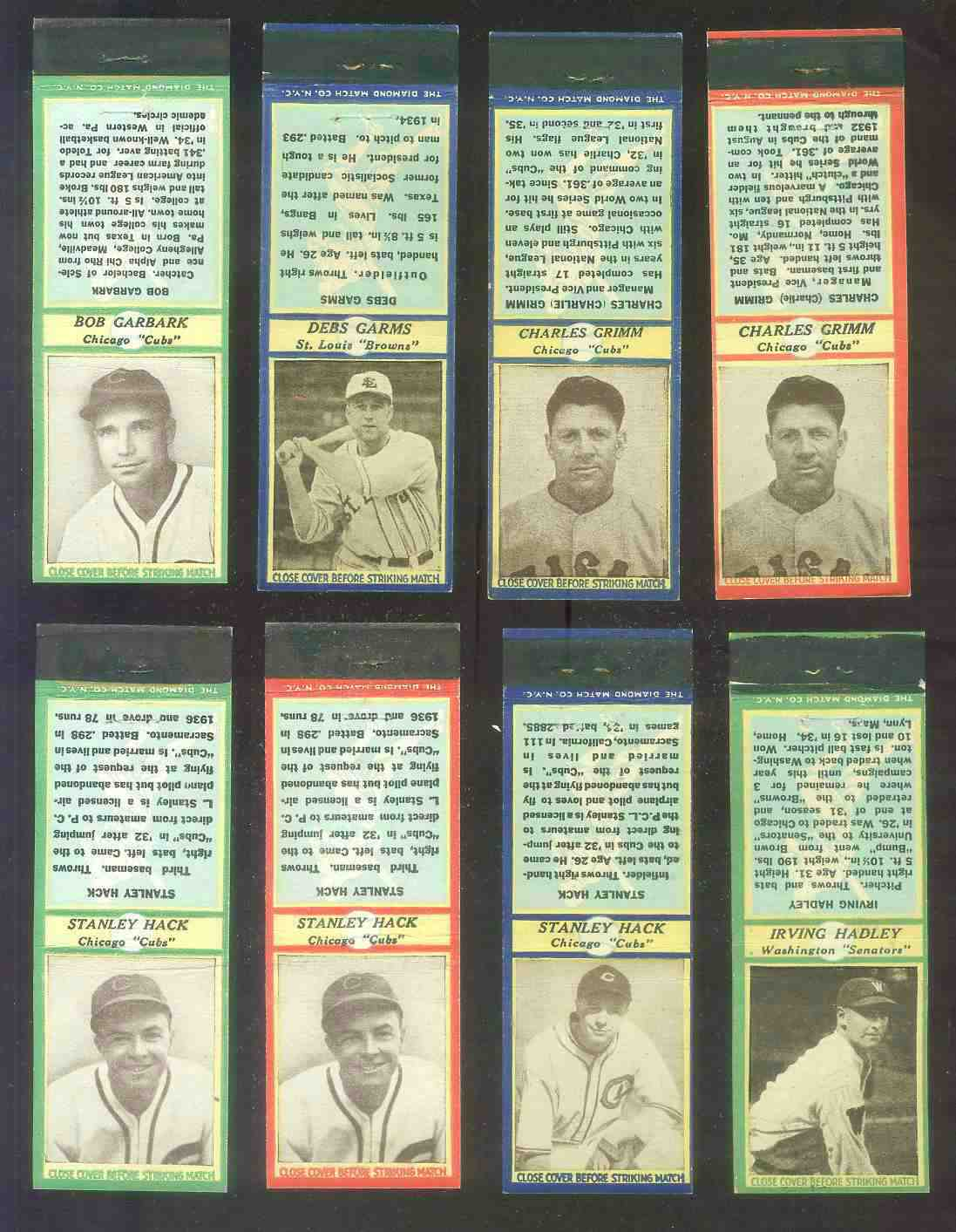 1935-36 Diamond Match Co. #.64 Stan Hack CHEST UP RED (Cubs) Baseball cards value