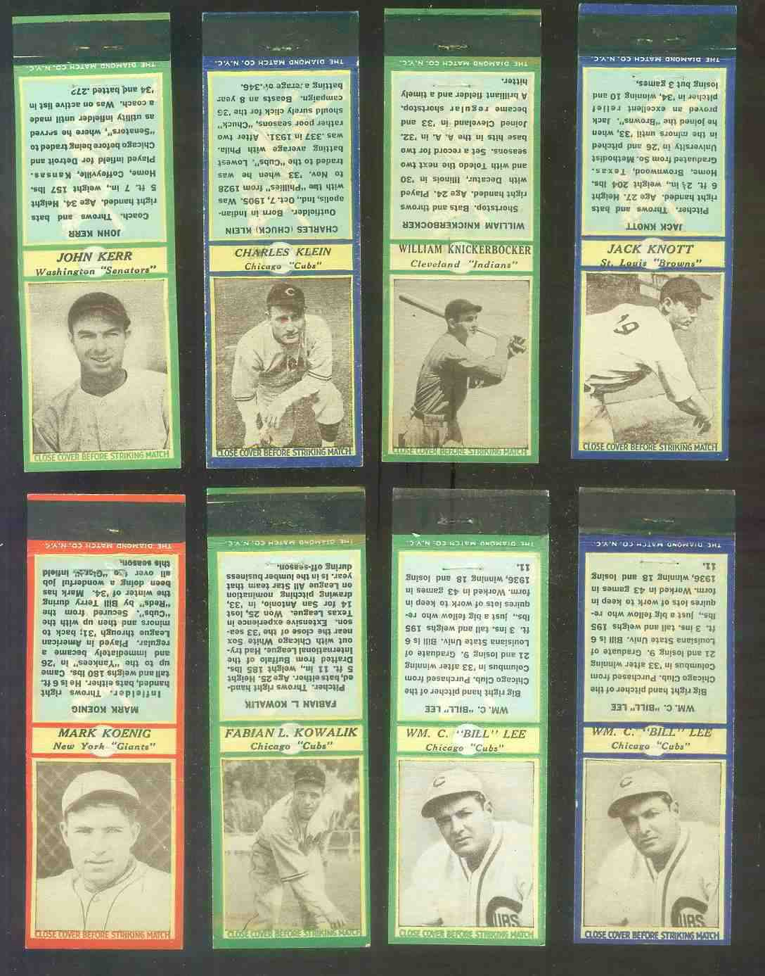 1935-36 Diamond Match Co. #.90 William Knickerbocker GREEN (Indians) Baseball cards value