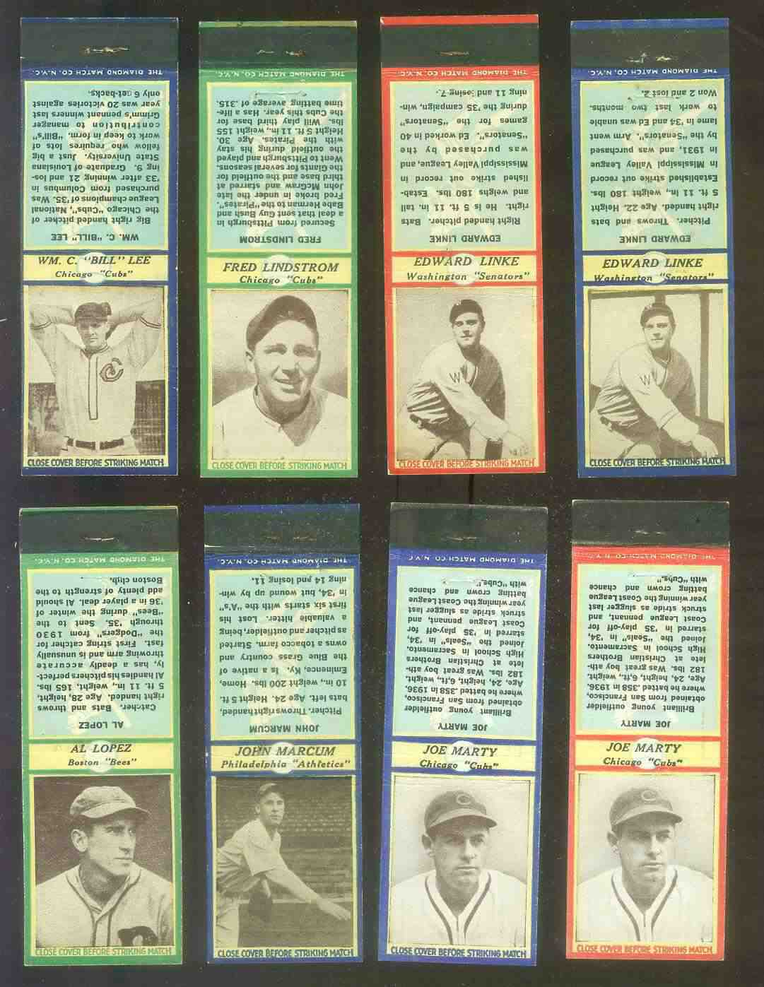 1935-36 Diamond Match Co. #102B Joe Marty BLUE (Cubs) Baseball cards value