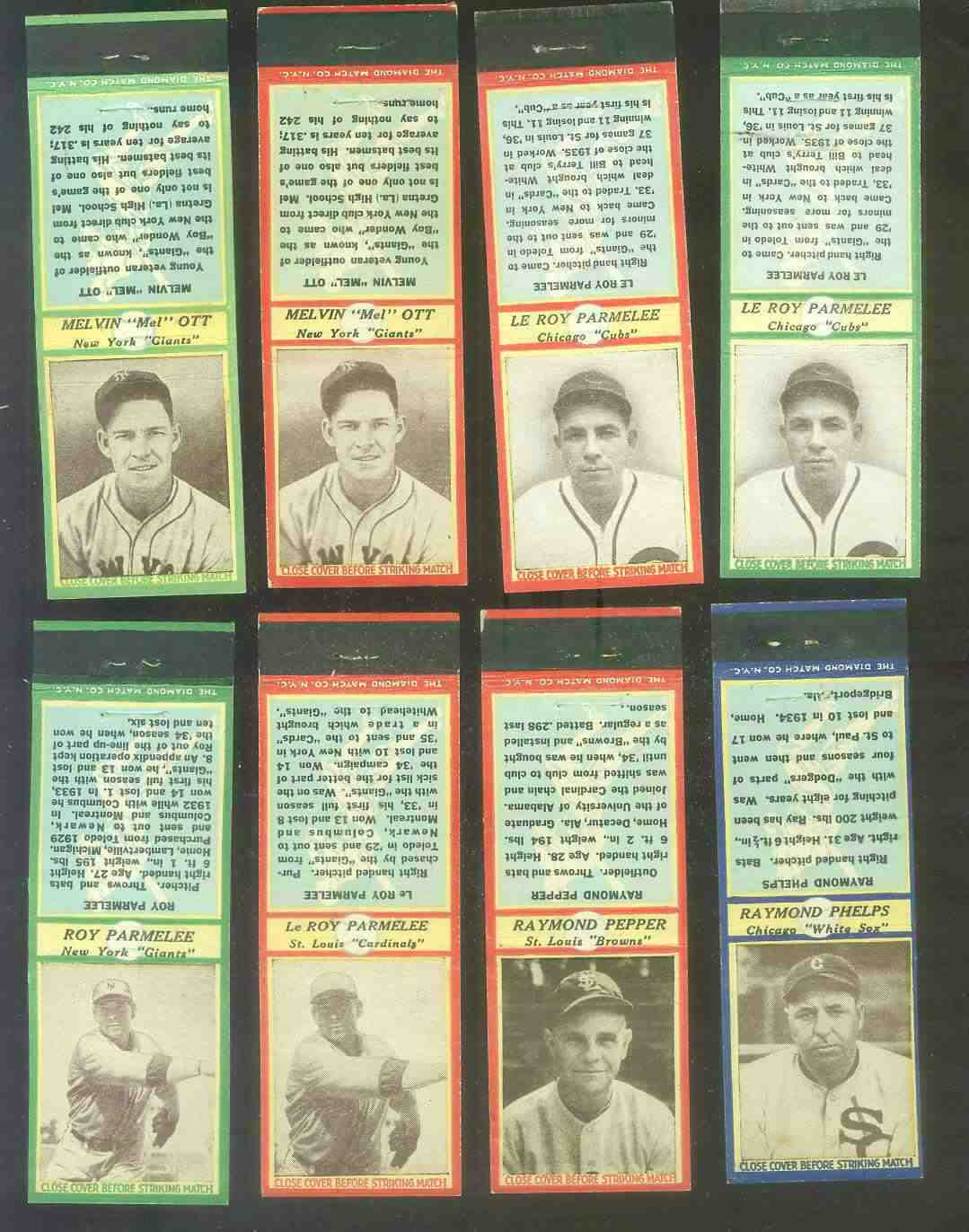 1935-36 Diamond Match Co. #117 Mel Ott GREEN (Giants) Baseball cards value
