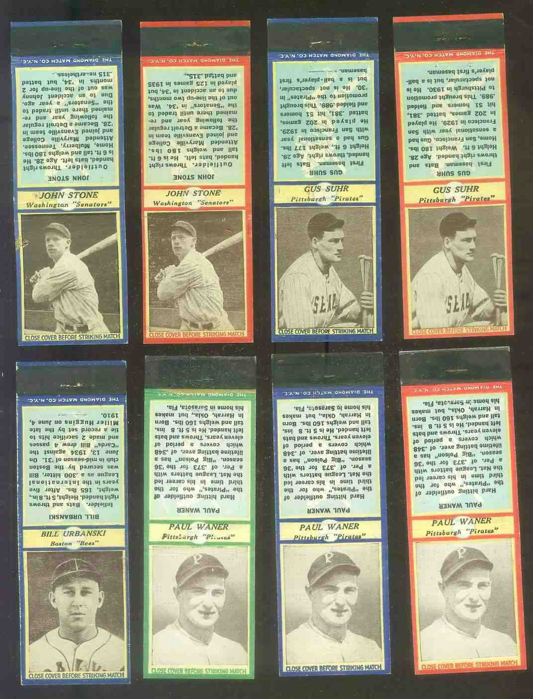 1935-36 Diamond Match Co. #138 Gus Suhr BLUE (Pirates) Baseball cards value