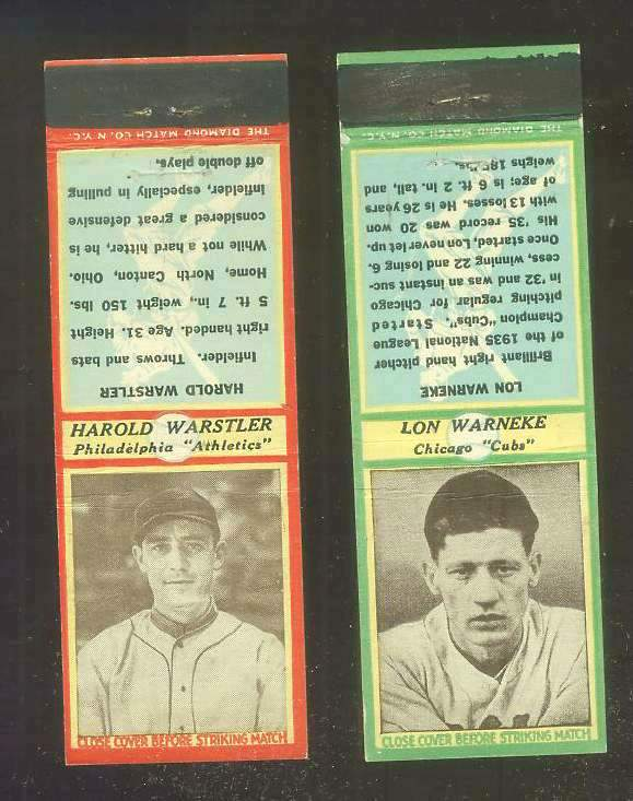 1935-36 Diamond Match Co. #146 Lon Warnecke GREEN (Cubs) Baseball cards value