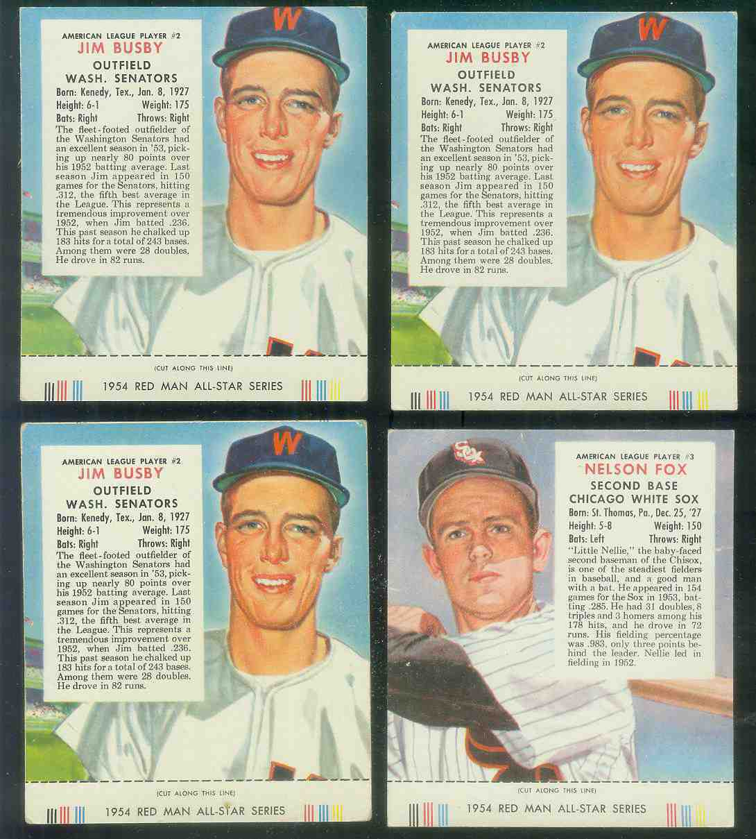 1954 Red Man #AL.2 Jim Busby WITH TAB (Senators) Baseball cards value