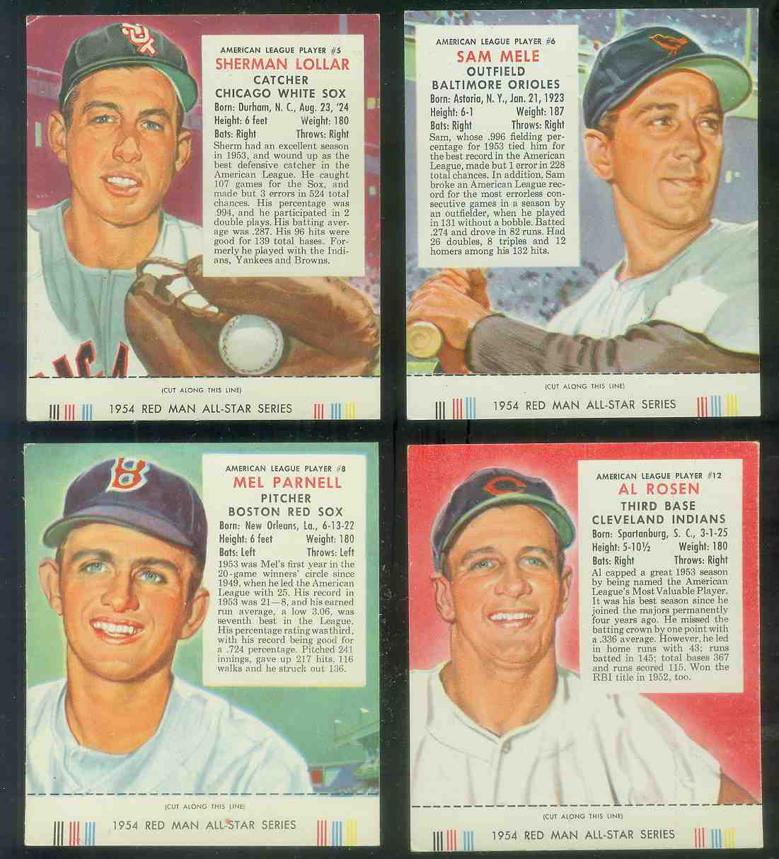 1954 Red Man #AL.5 Sherman Lollar WITH TAB (White Sox) Baseball cards value