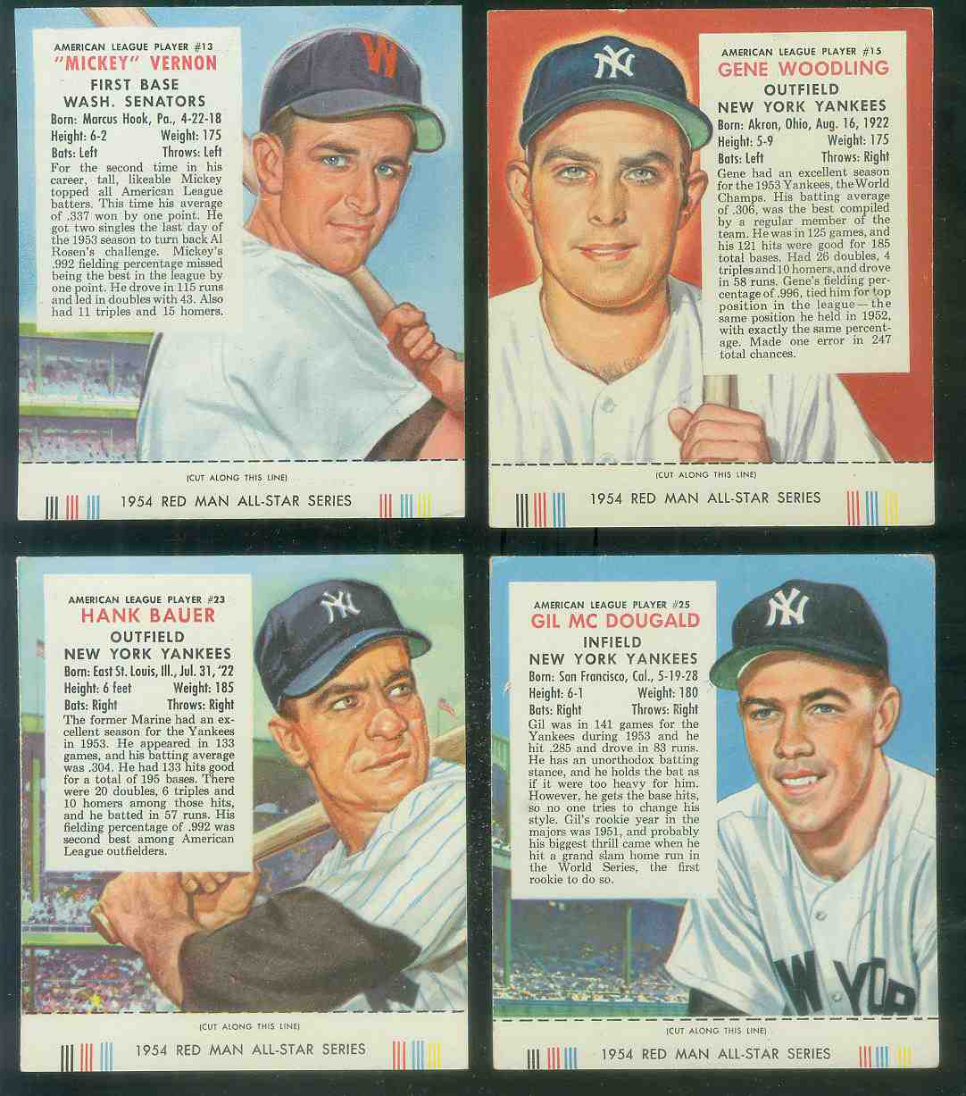 1954 Red Man #AL15 Gene Woodling WITH TAB (Yankees) Baseball cards value