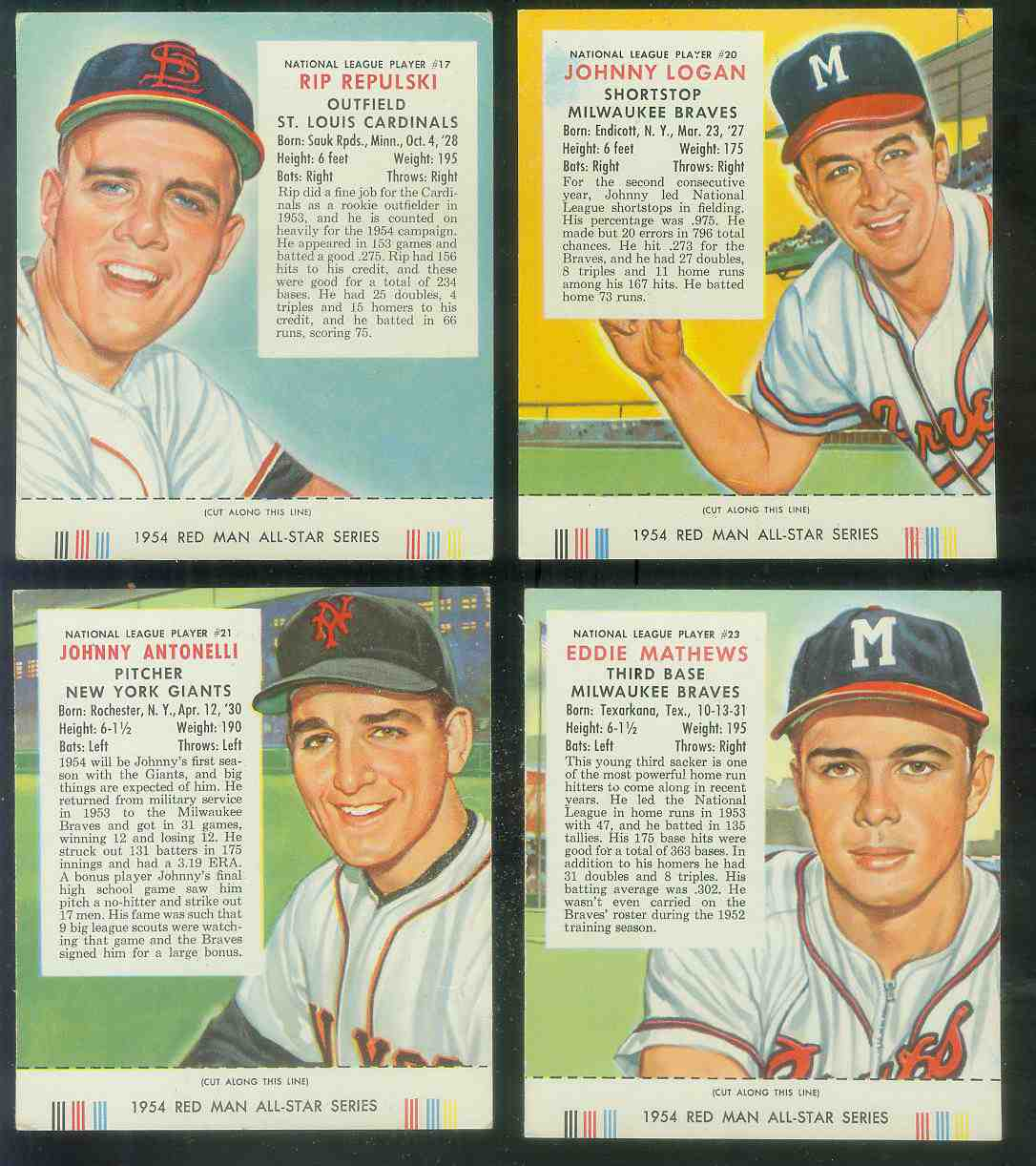1954 Red Man #NL20 Johnny Logan WITH TAB (Braves) Baseball cards value