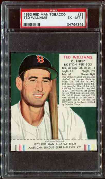 1952 Red Man #AL23 Ted Williams WITH TAB (Red Sox) Baseball cards value