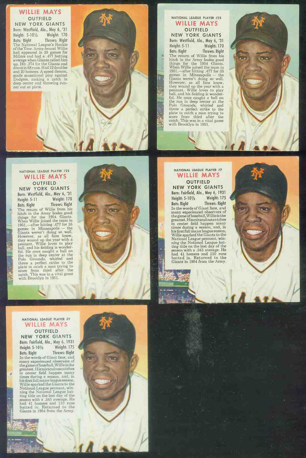 1954 Red Man #NL25 Willie Mays (Giants) Baseball cards value
