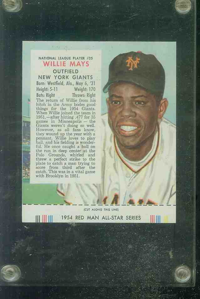 1954 Red Man #NL25 Willie Mays WITH TAB !!! [#x] (Giants) Baseball cards value