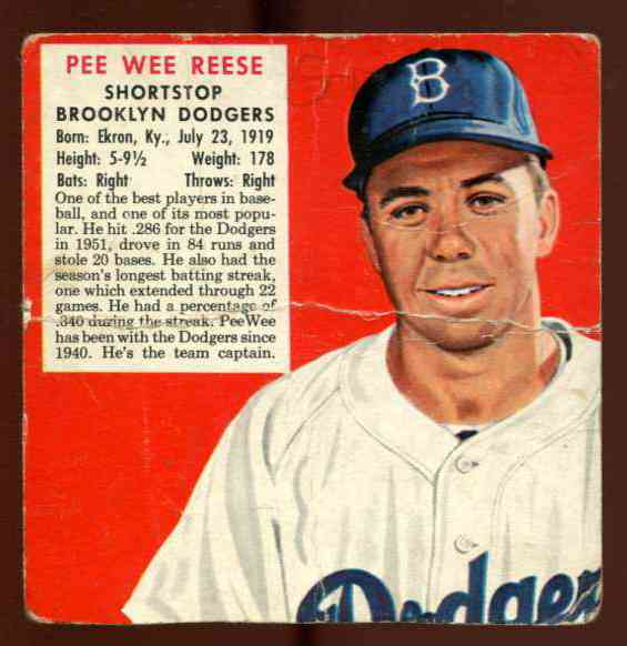 1952 Red Man #NL17 Pee Wee Reese [#x] (Dodgers) Baseball cards value
