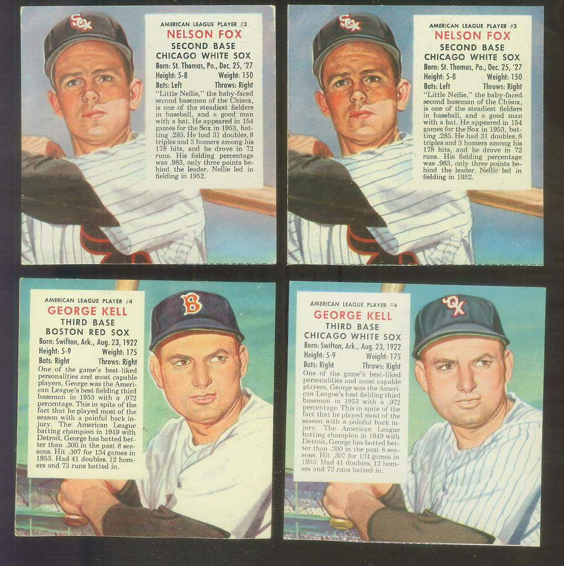 1954 Red Man #AL.4B George Kell SCARCE VARIATION {VAR:White Sox} Baseball cards value