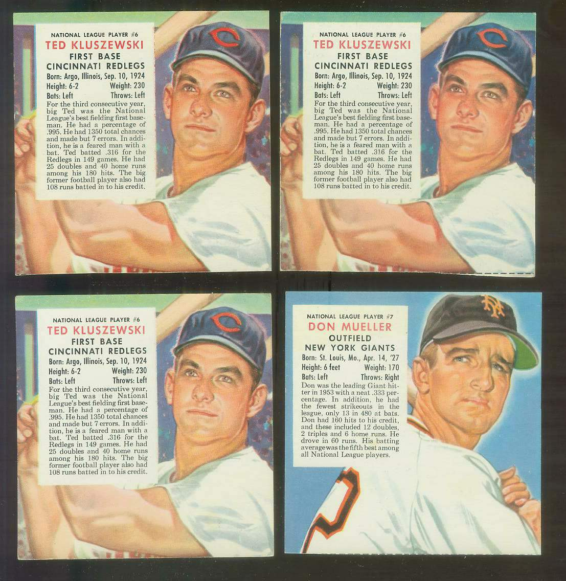 1954 Red Man #NL.7 Don Mueller (Giants) Baseball cards value