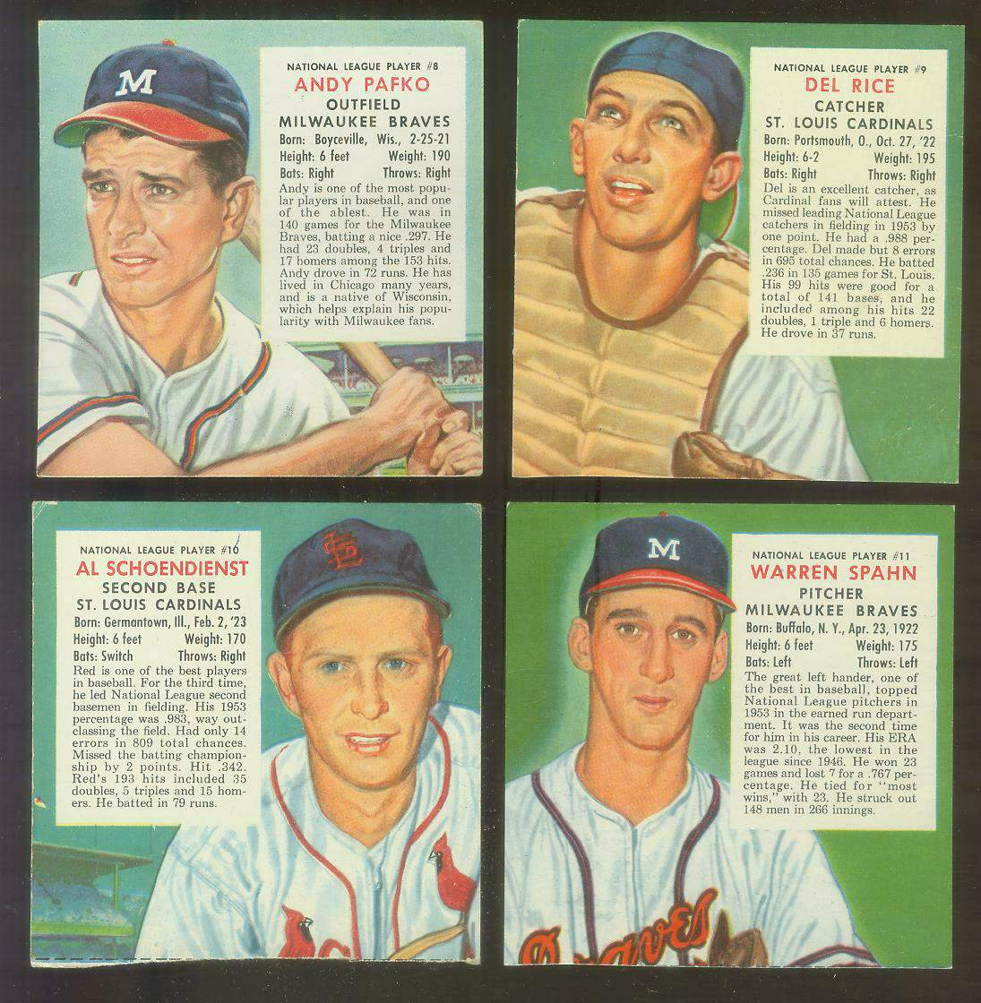1954 Red Man #NL11 Warren Spahn (Braves) Baseball cards value