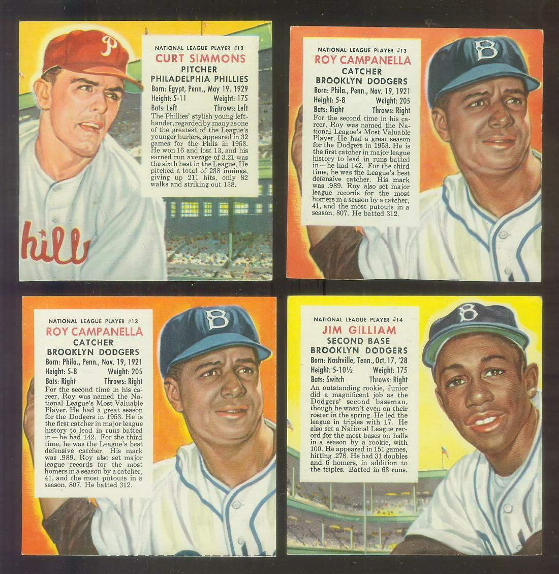 1954 Red Man #NL14 Jim Gilliam (Dodgers) Baseball cards value