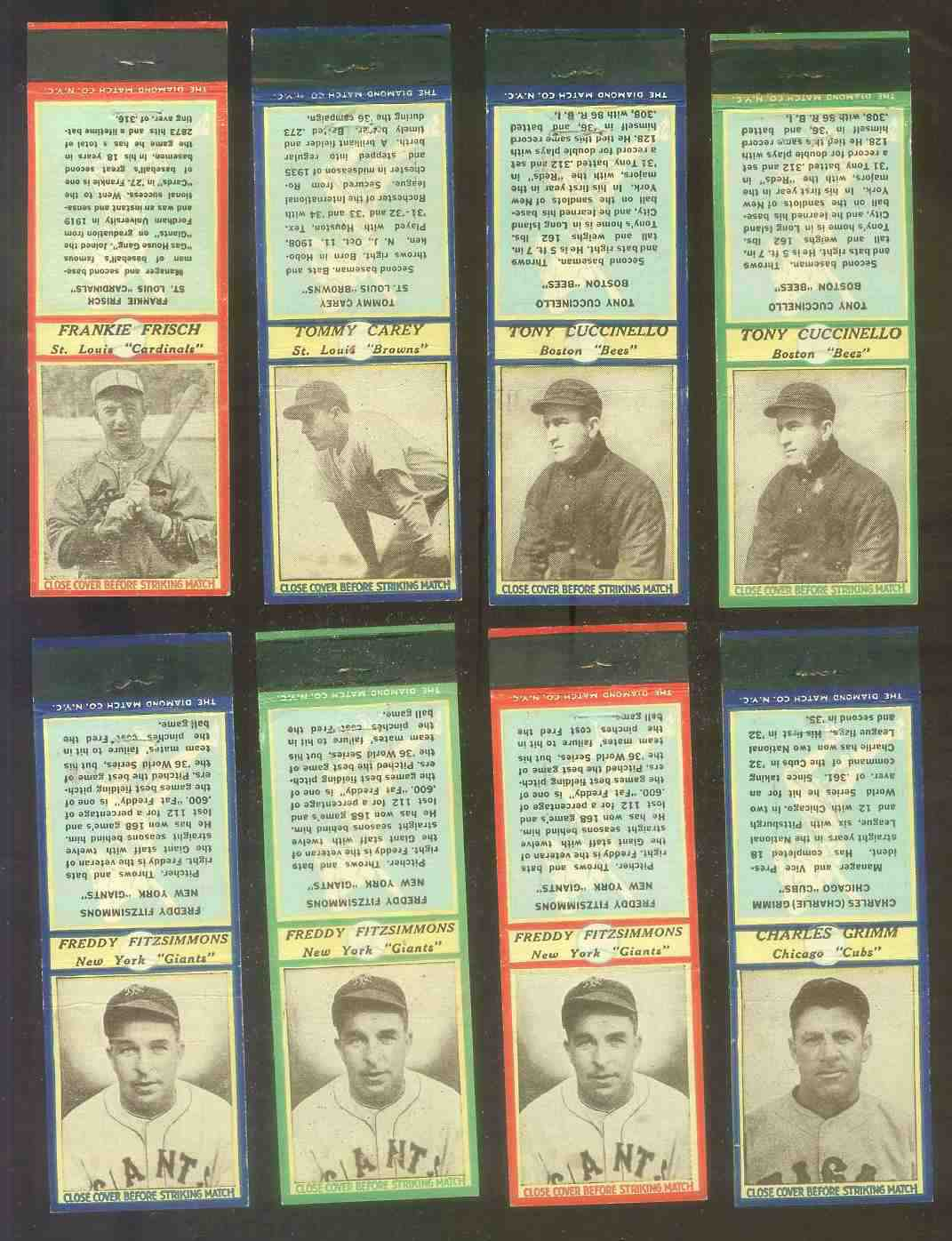 1937 Diamond Matchbooks - Freddy Fitzsimmons GREEN (NY Giants) Baseball cards value