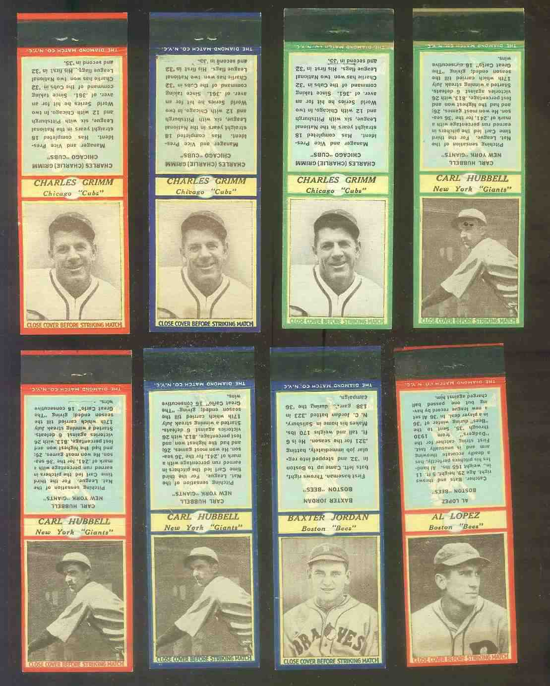 1937 Diamond Matchbooks - Charlie Grimm RED (Cubs) Baseball cards value