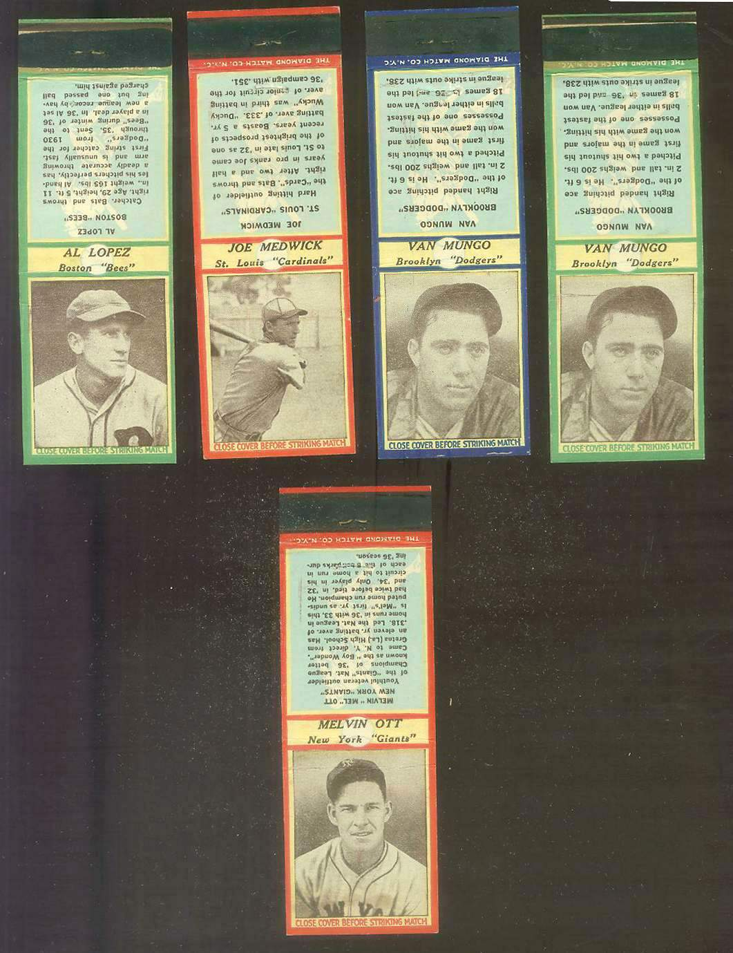 1937 Diamond Matchbooks - Mel Ott (NY Giants) Baseball cards value