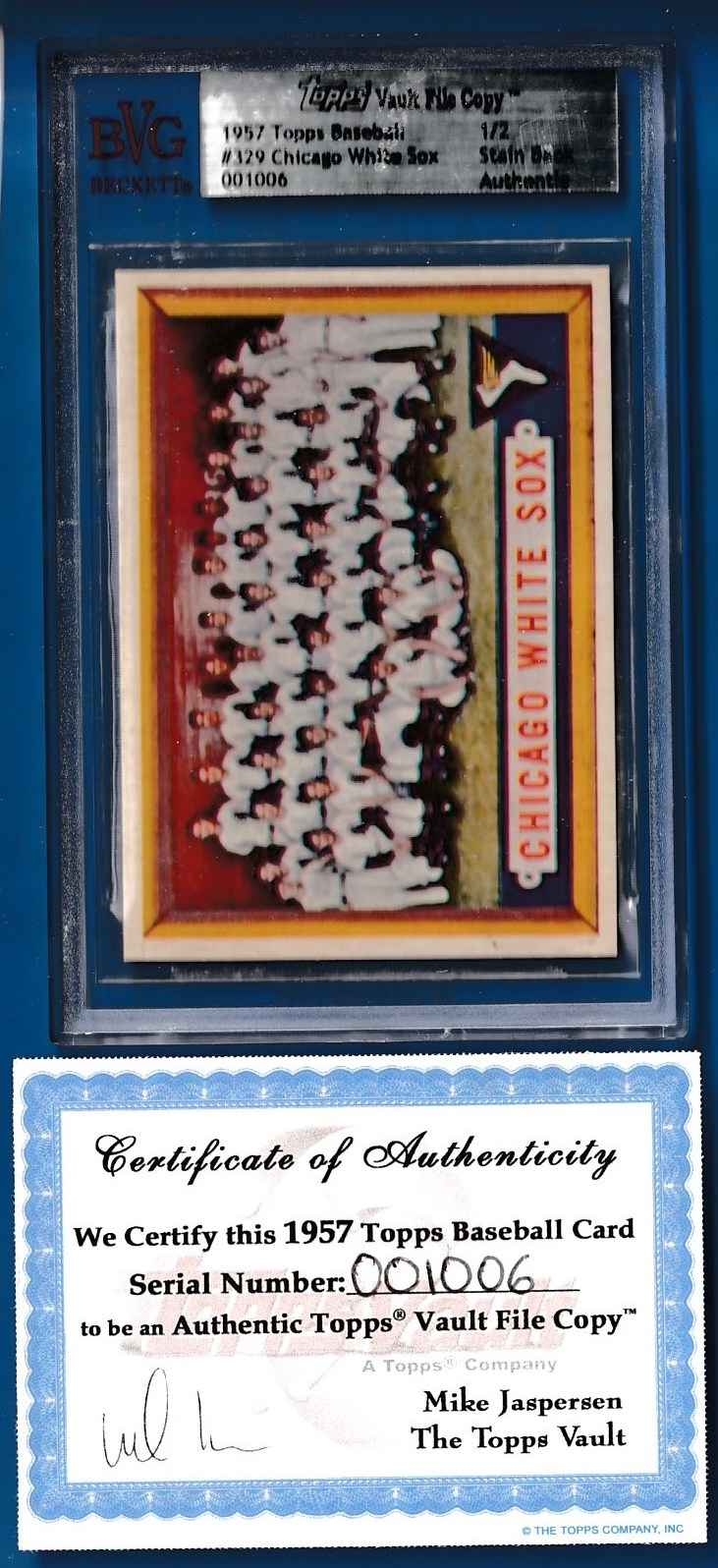 1957 Topps #329 Chicago WHITE SOX Team SCARCE SERIES -TOPPS VAULT FILE COPY Baseball cards value