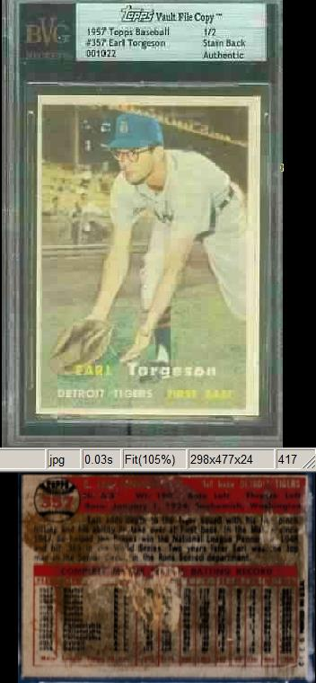 1957 Topps #357 Earl Torgeson TOPPS VAULT FILE COPY [SB] (Tigers) Baseball cards value