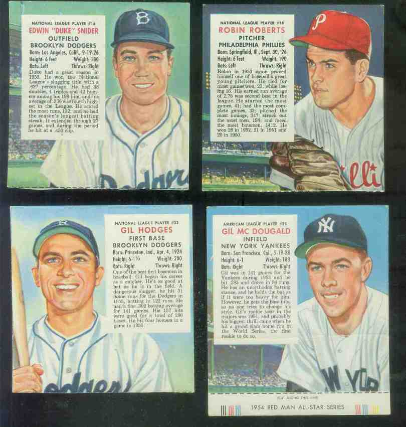 1954 Red Man #NL22 Gil Hodges (Dodgers) Baseball cards value
