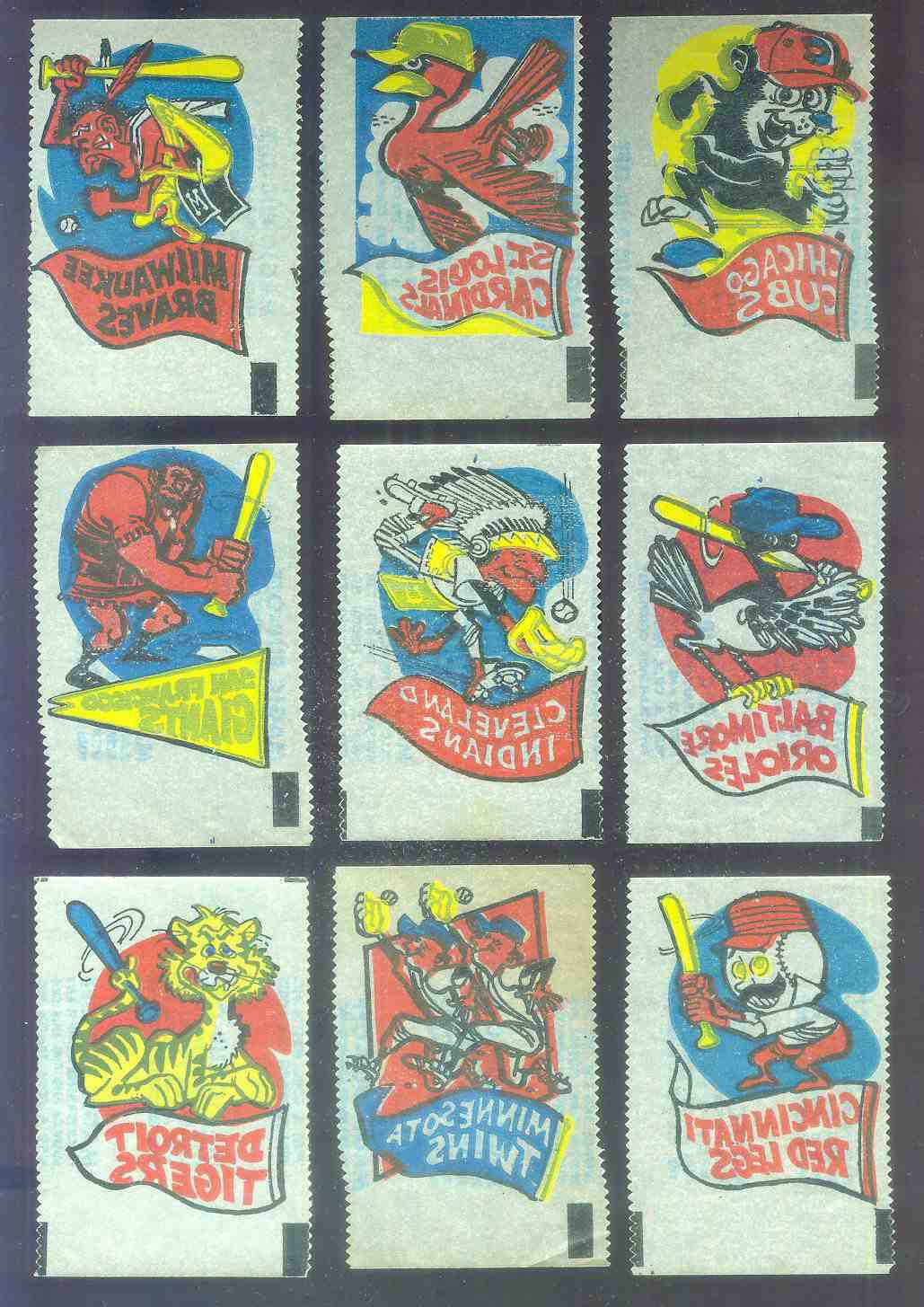 1961 Topps MAGIC RUB-OFFS - Braves Mascot & Pennant Baseball cards value