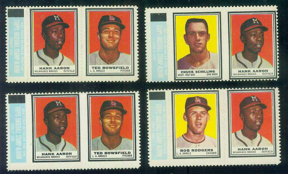 HANK AARON/Ted Bowsfield - 1962 Topps STAMP PANEL with TAB !!! [#a] Baseball cards value