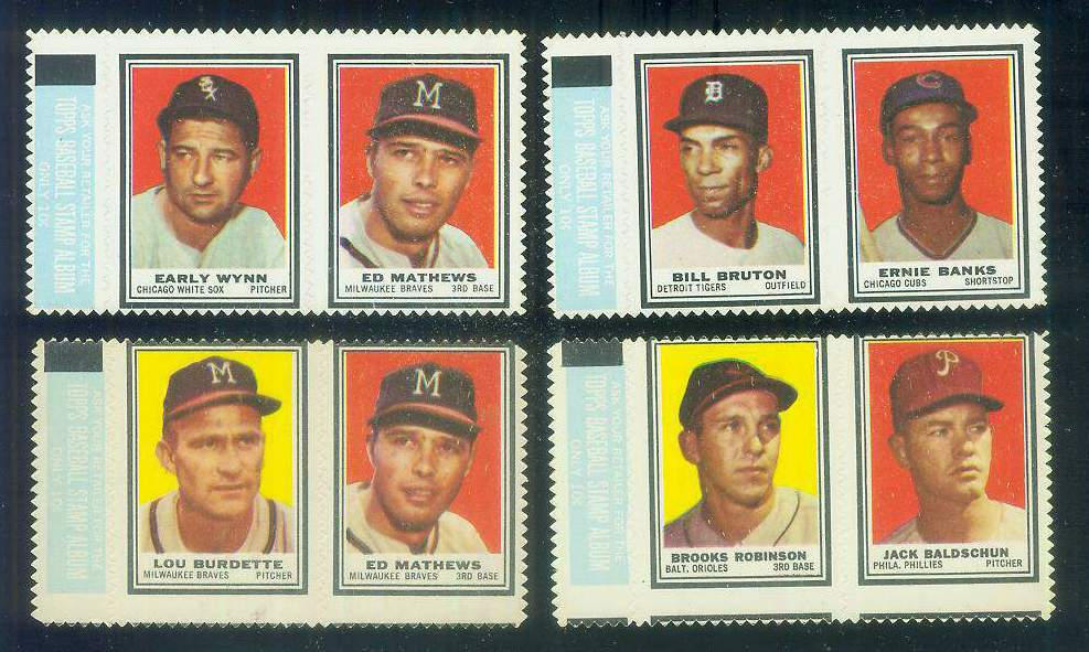 EARLY WYNN/EDDIE MATHEWS - 1962 Topps STAMP PANEL with TAB !!! Baseball cards value