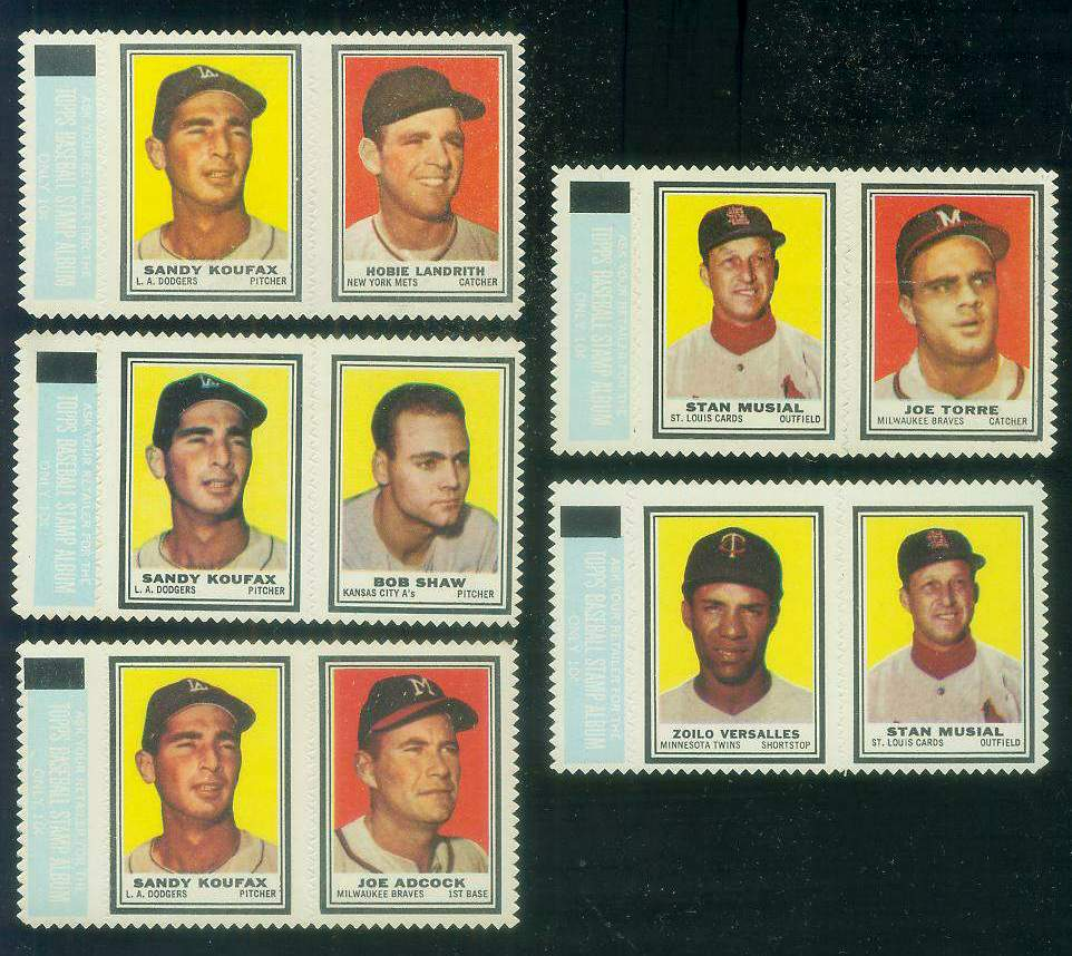 STAN MUSIAL/Joe Torre ROOKIE - 1962 Topps STAMP PANEL with TAB !!! Baseball cards value