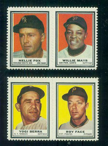 NELLIE FOX/WILLIE MAYS - 1962 Topps STAMP PANEL (no/tab) Baseball cards value