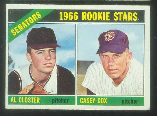 1966 Topps #549 Senators ROOKIES [#esc] SCARCE HI# (Al Closter,Casey Cox) Baseball cards value
