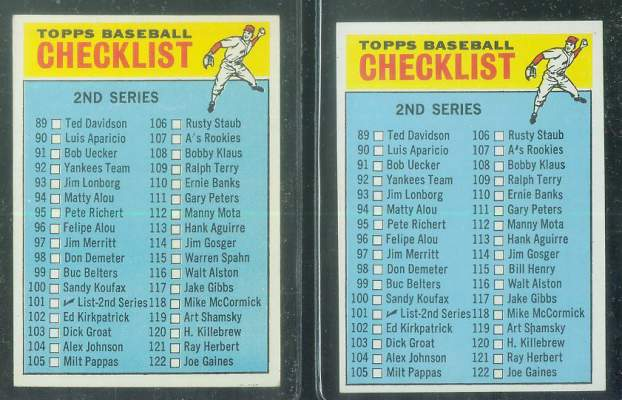 1966 Topps #101b Checklist #2 CORRECTED variation [#e] (#115 Bill Henry) Baseball cards value