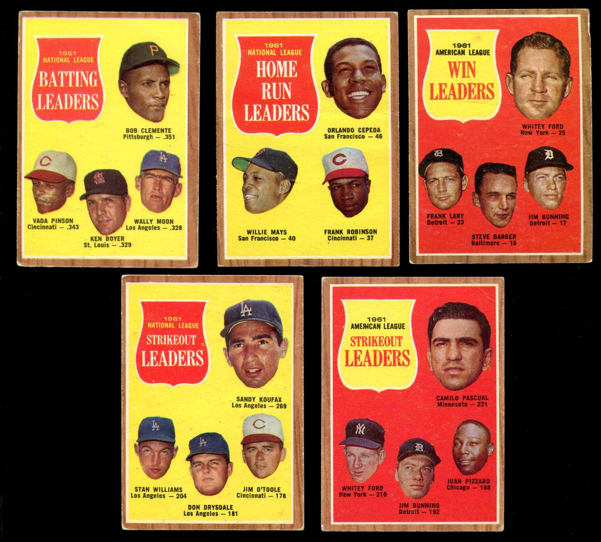 1962 Topps   - Lot of (5) different LEAGUE LEADERS w/Roberto Clemente Baseball cards value