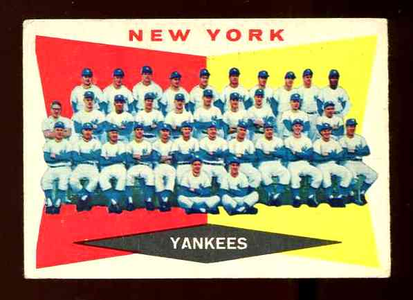 1960 Topps #332 Yankees TEAM card Baseball cards value