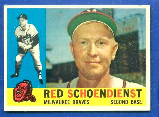 1960 Topps #335 Red Schoendienst [#a] (Braves) Baseball cards value