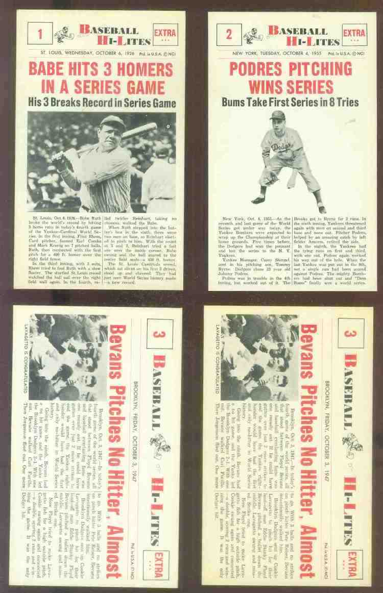 1960 Nu-Card Hi-Lites #.1 Babe Ruth - 'Hits 3 Homers in a Series Game' Baseball cards value