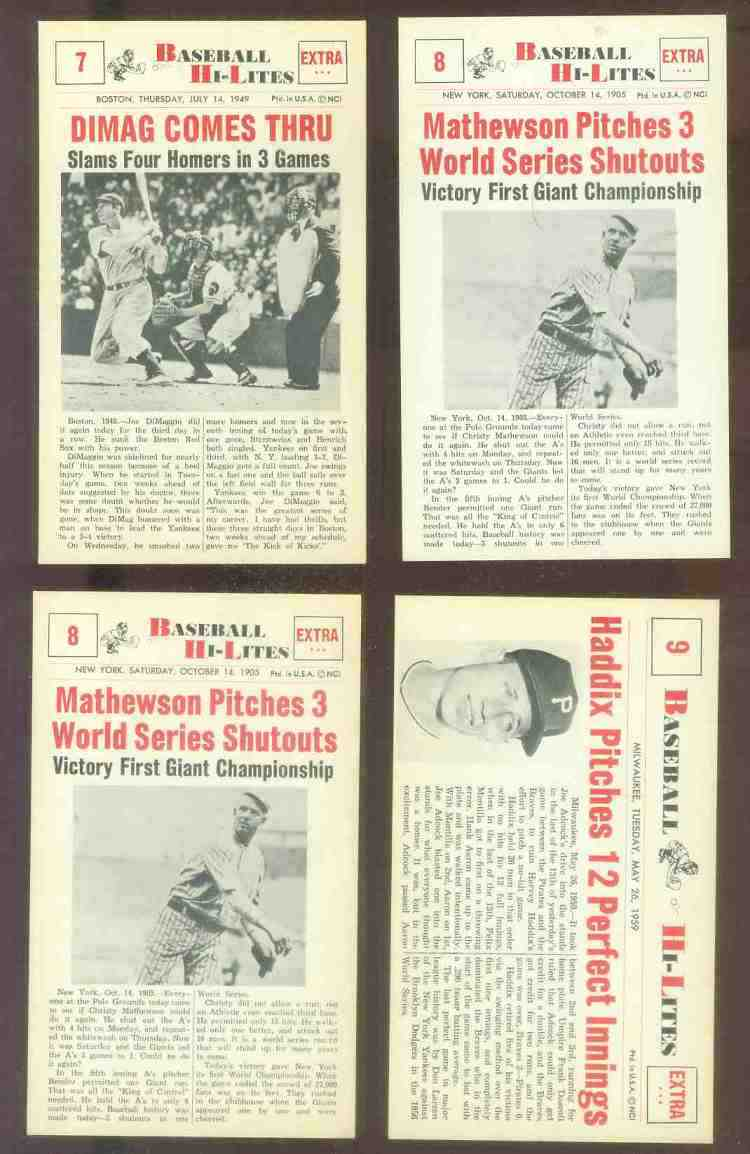1960 Nu-Card Hi-Lites #.8 Christy Mathewson - 'Pitches Three W.S. Shutouts' Baseball cards value