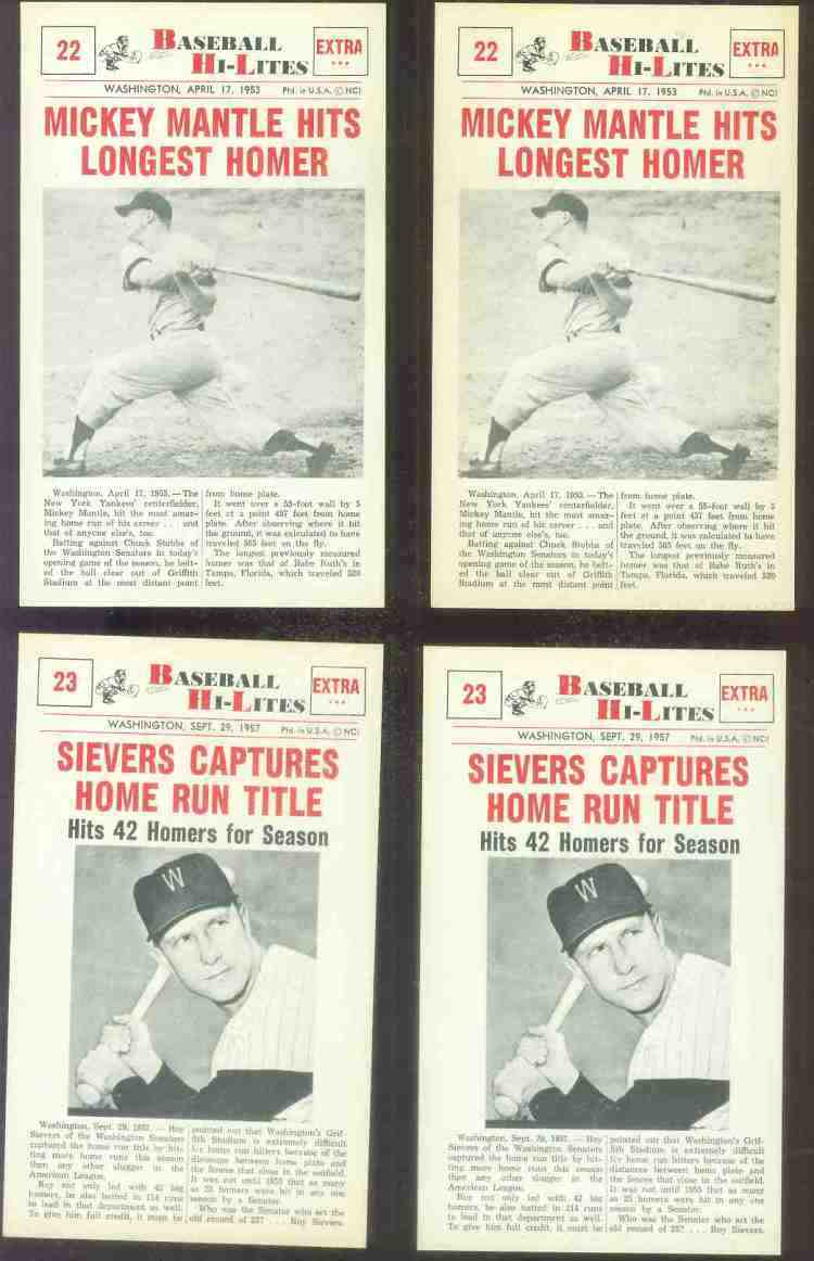 1960 Nu-Card Hi-Lites #22 Mickey Mantle - 'Hits Longest Homer' Baseball cards value