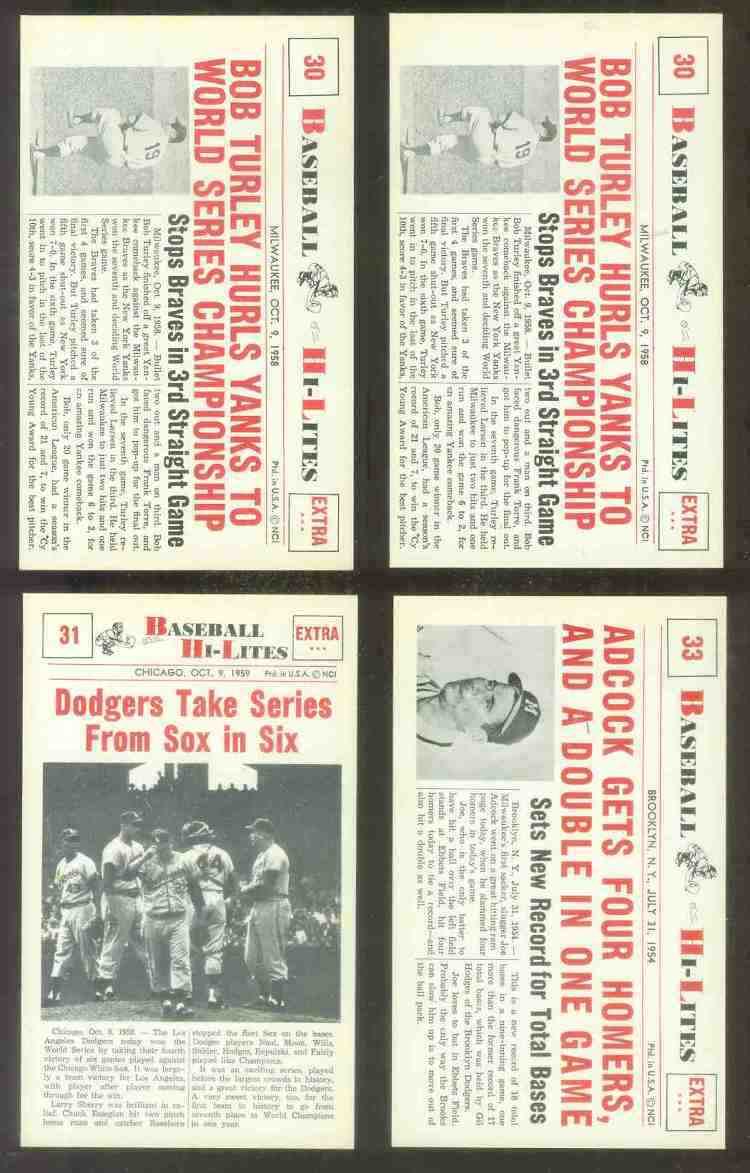 1960 Nu-Card Hi-Lites #33 Joe Adcock - 'Gets 4 Homers & Double in One Game' Baseball cards value
