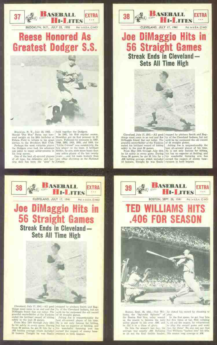1960 Nu-Card Hi-Lites #38 Joe DiMaggio - 'Hits in 56 Straight Games' Baseball cards value