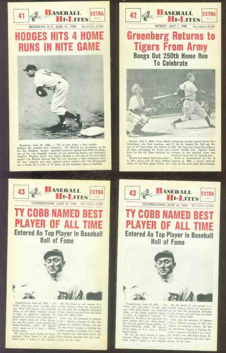 1960 Nu-Card Hi-Lites #43 Ty Cobb - 'Named Best Player of All Time' Baseball cards value