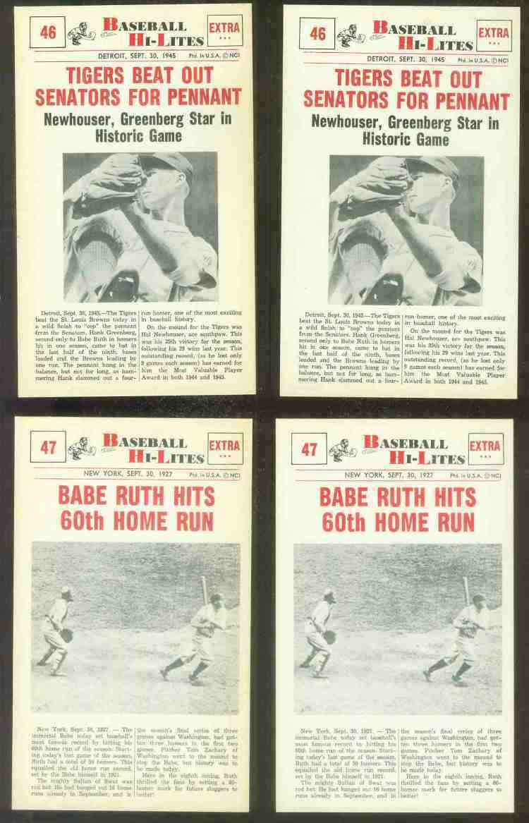 1960 Nu-Card Hi-Lites #47 Babe Ruth - 'Hits 60th Home Run' Baseball cards value