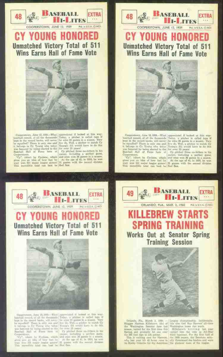 1960 Nu-Card Hi-Lites #48 Cy Young - 'Honored' Baseball cards value