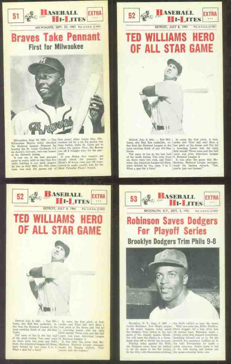 1960 Nu-Card Hi-Lites #52 Ted Williams - 'Hero of All-Star Game' Baseball cards value