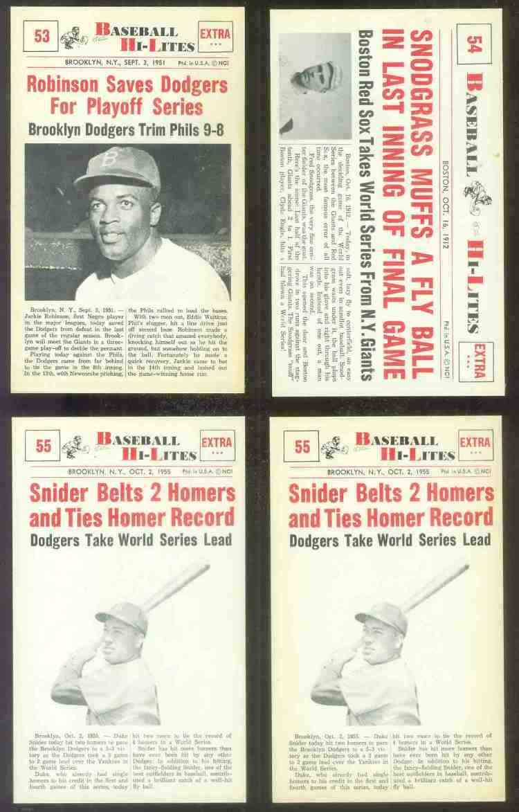 1960 Nu-Card Hi-Lites #53 Jackie Robinson - 'Saves Dodgers for Play-Offs' Baseball cards value