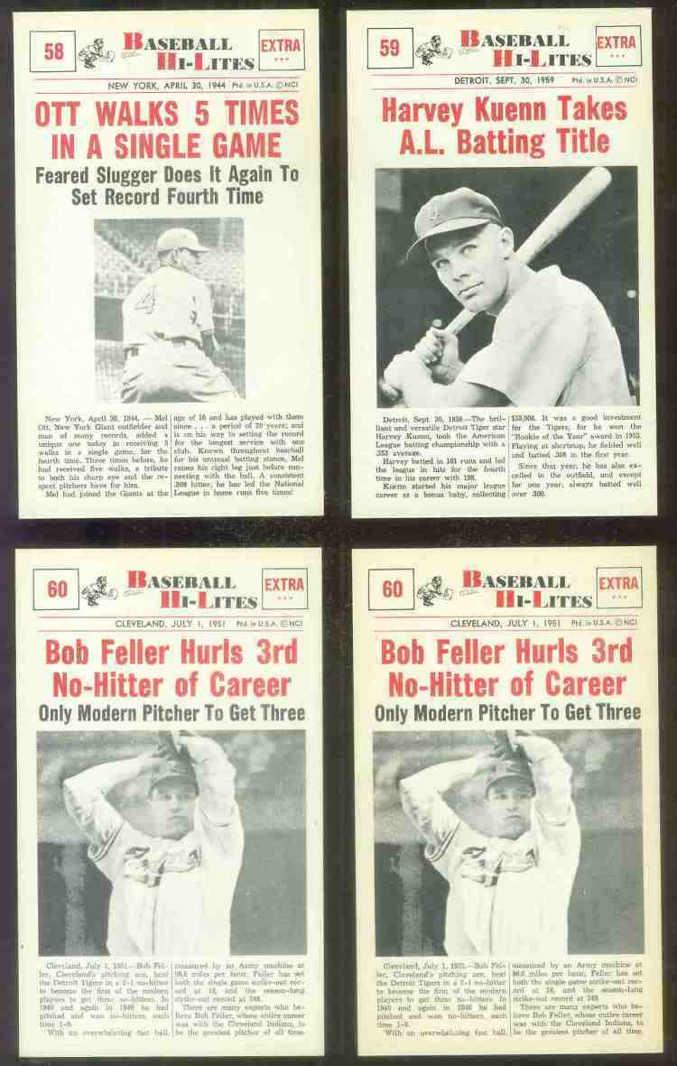 1960 Nu-Card Hi-Lites #60 Bob Feller - 'Hurls 3rd No-Hitter of Career' Baseball cards value