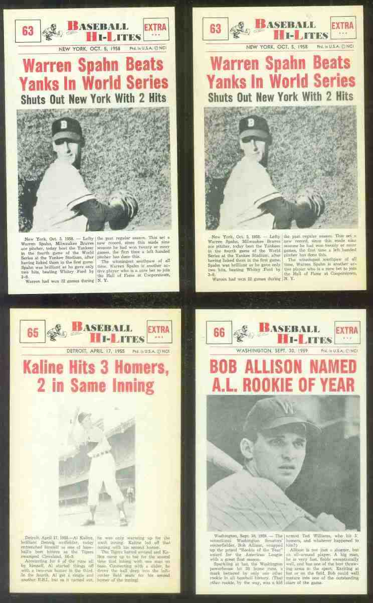 1960 Nu-Card Hi-Lites #63 Warren Spahn - 'Beats Yanks in World Series' Baseball cards value