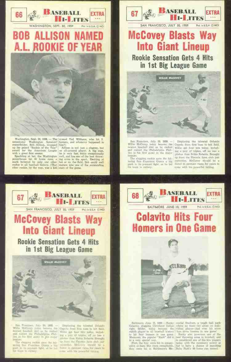 1960 Nu-Card Hi-Lites #67 Willie McCovey ROOKIE - 'Blasts Way in Lineup' Baseball cards value